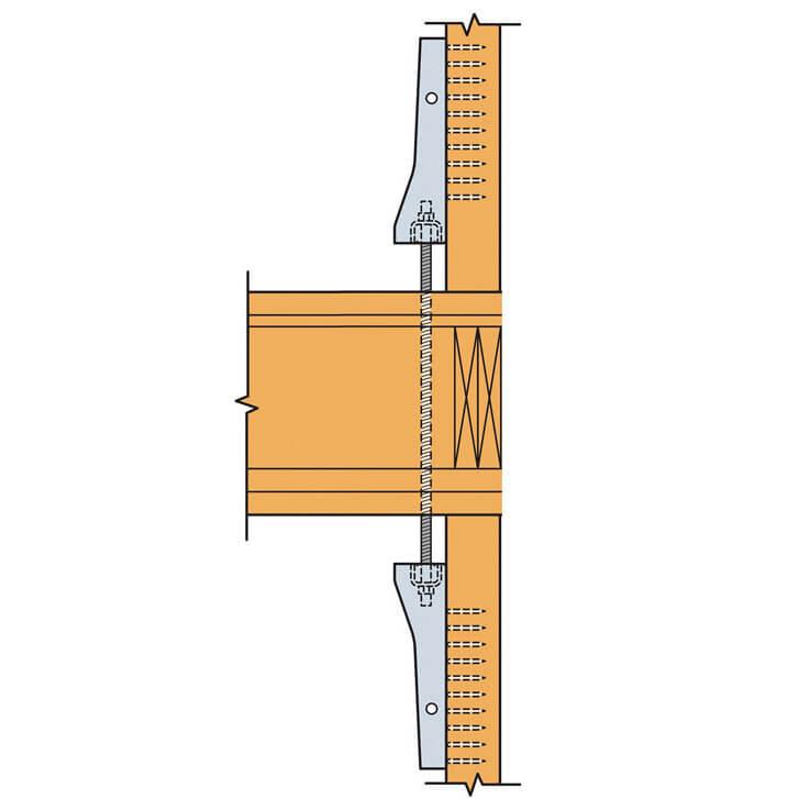Zdj. 7. Zastosowanie pary złączy kotwiących pełniących funkcje zakotwienia ścian piętra. Prefabrykacja budynku. Kotwienie ścian