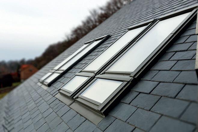 Łupek | okna dachowe FAKRO Duet proSky | kołnierz uszczelniający ELV FAKRO