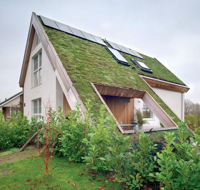 Dach zielony | okna dachowe FAKRO FTP-V | niestandardowe kołnierze uszczelniające FAKRO projektowane na zamówienie