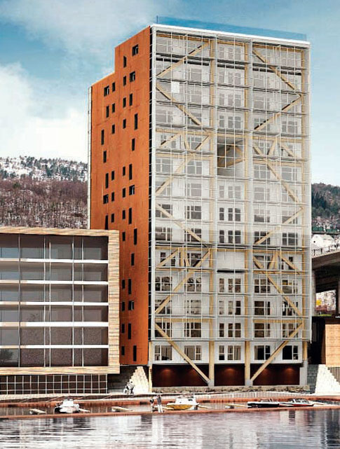 Fot. 2. Apartamentowiec w Bergen - odporność ogniowa konstrukcji drewnianych