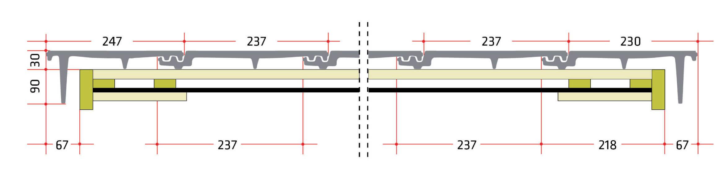 """Dachówki skrajne. W przypadku dachówek skrajnych leżących w jednej płaszczyźnie ze ścianą szczytową należy pamiętać, że w trakcie planowania trzeba liczyć się z odpowiednią, dopasowaną średnią szerokością pokrycia. Więcej swobody daje nam przy tym występ deski szczytowej, który będzie wykonany od spodu i od strony czołowej (jak na przekrojach). Zastosowano tutaj odstęp 10 mm od deski do """"płetwy"""". W przypadku innego odstępu należy dopasować wymiary deski osłonowej szczytowej. Podane wymiary dotyczą dachówki ceramicznej Bergamo marki Röben."""