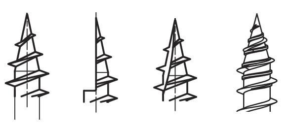 Rys. 2. Wkręty ciesielskie - końcówki: a) zwykła, b) nacięcie 1/2, c) nacięcie 1/4, d) podwójne gwintowanie.