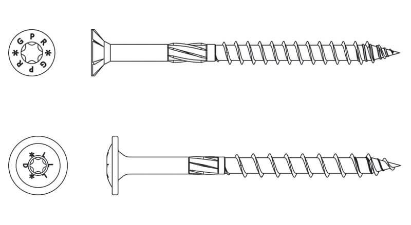 Rys. 1. Wkręty ciesielskie o gwincie częściowym z łbem talerzykowym i stożkowym.