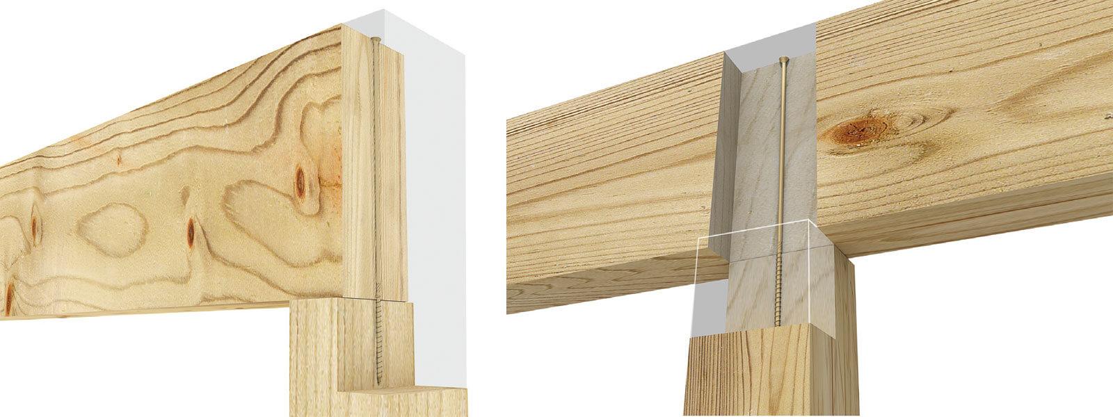 Rys. 3. Wkręty ciesielskie - połączenie belek ze słupem.
