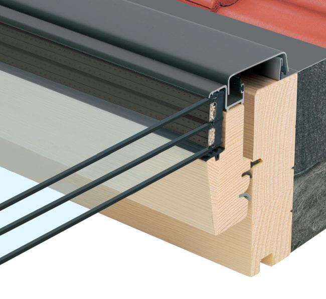 Przekrój FTP-V U5 w dachu. Trzyszybowe okna dachowe