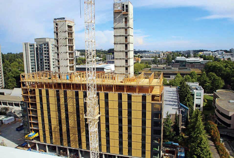 Akademik w Vancouver po ukończeniu będzie to najwyższy budynek z drewna na świecie o wysokości 53 m. Źródło: Seagate Consulting. Komunalwood