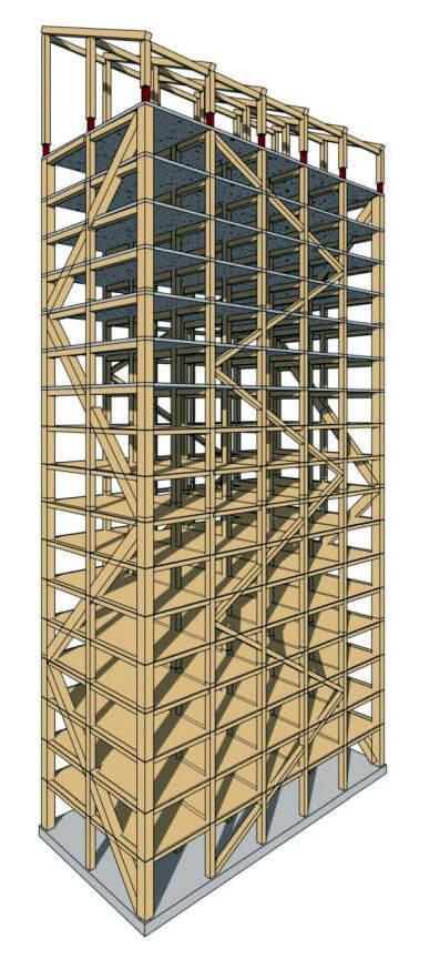 18-kondygnacyjny apartamentowiec Mjöstornet w Brumunddal, Norwegia. Konstrukcja. Źródło: materiały własne Moelven. Komunalwood