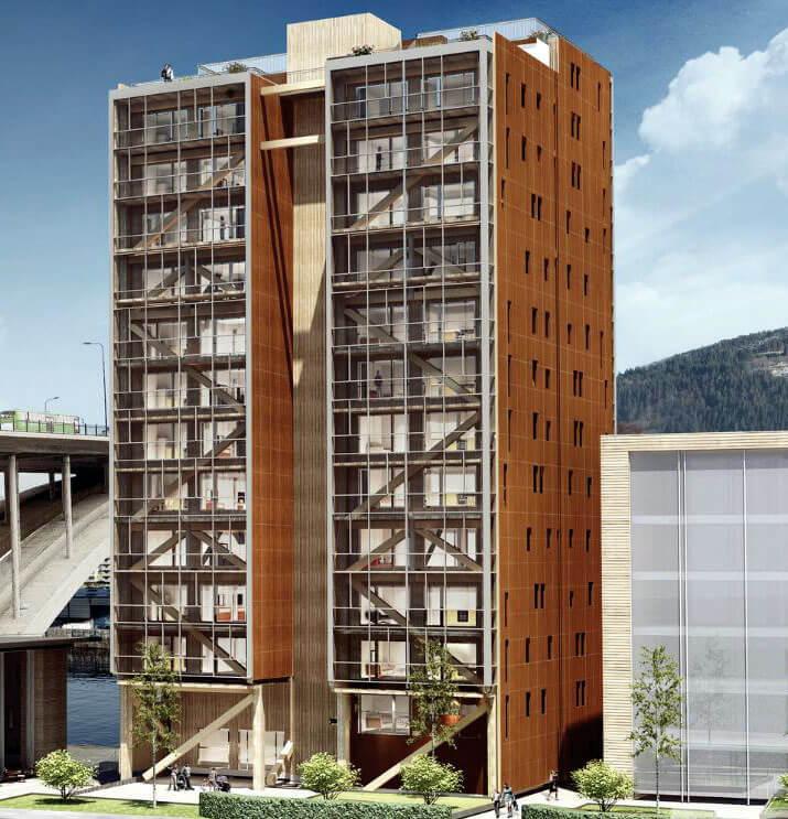 """Apartamentowiec 14-kondygnacyjny """"Treet"""" w Bergen, Norwegia. Źródło: ARTEC. Komunalwood"""
