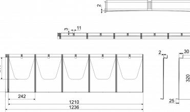 Rysunek techniczny blachodachówka płaska IRYD