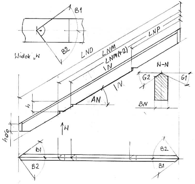 Rys. 2. Krokiew narożna - geometria dachu kopertowego