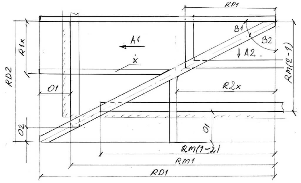 Rys. 3. Oparcie krokwi narożnej - geometria dachu kopertowego