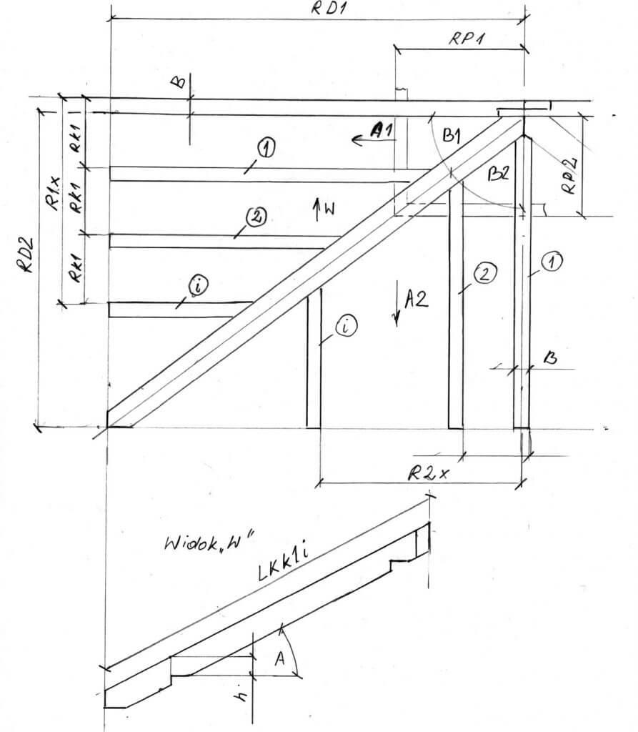 Rys. 5. Schemat obliczania długości krokwi skróconej - geometria dachu kopertowego