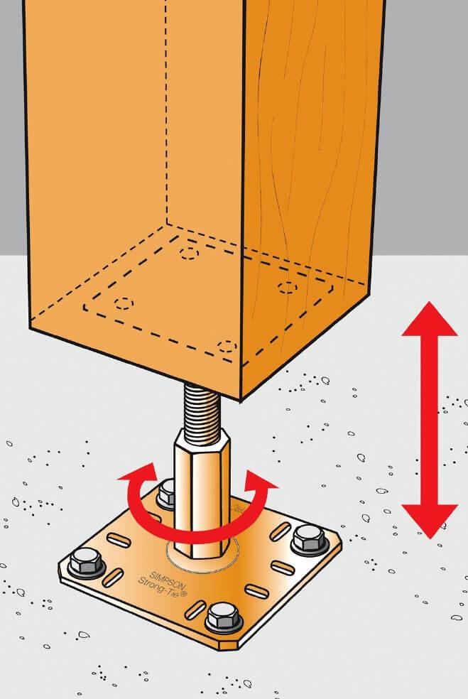 Zdj. 4. Zmiana wysokości regulowanej podstawy słupa. Regulowane podstawy drewnianych słupów
