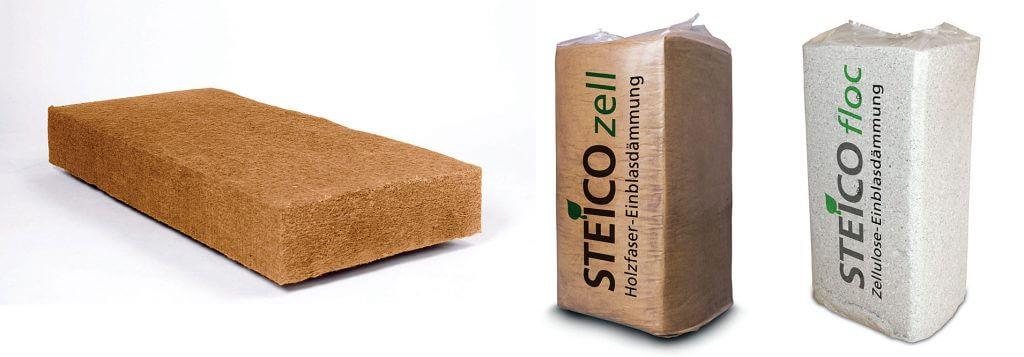 Maty termoizolacyjne STEICOflex 036, włókno drzewne STEICOzell, celuloza STEICOfloc - termoizolacja między krokwiami