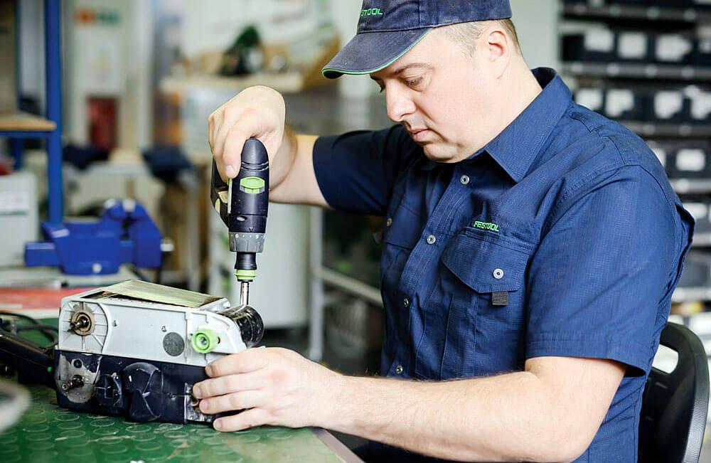 Kompleksowa naprawa oraz testy naprawionych narzędzi w warunkach rzeczywistych. Festool SERVICE