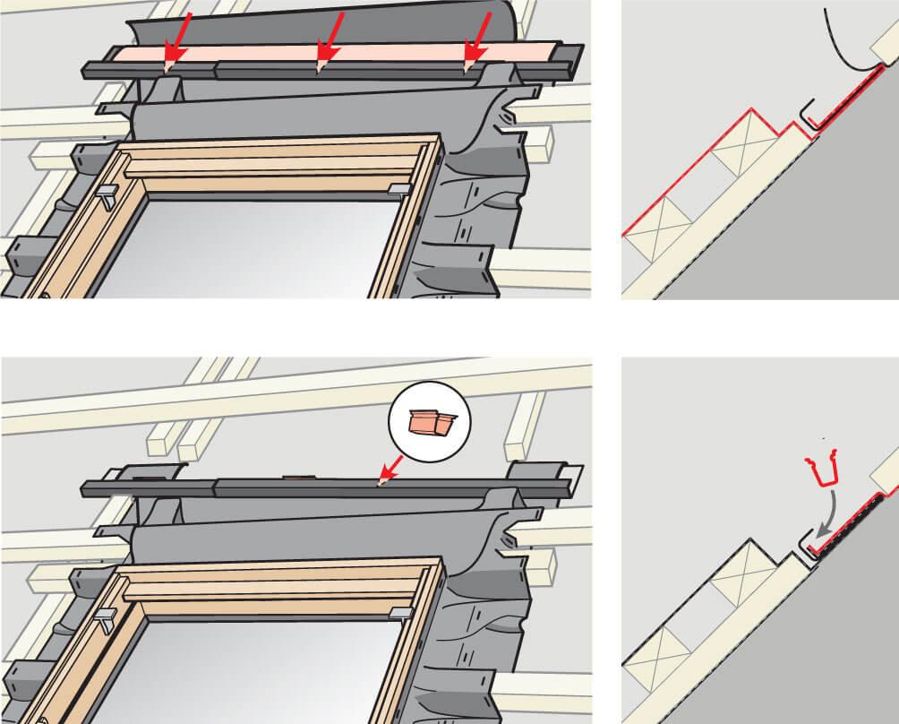 Rynienka odwadniająca. Montaż okien do poddaszy VELUX