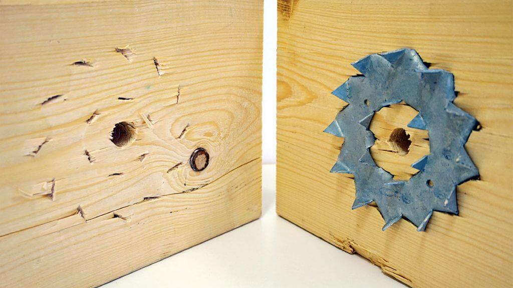 Zdj. 6. Pierścień Bulldog po zagłębieniu w elemencie drewnianym.