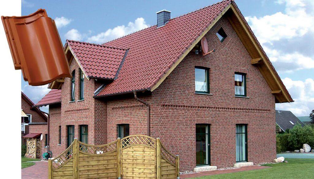 Dachówka Bornholm kasztanowa angobowana.