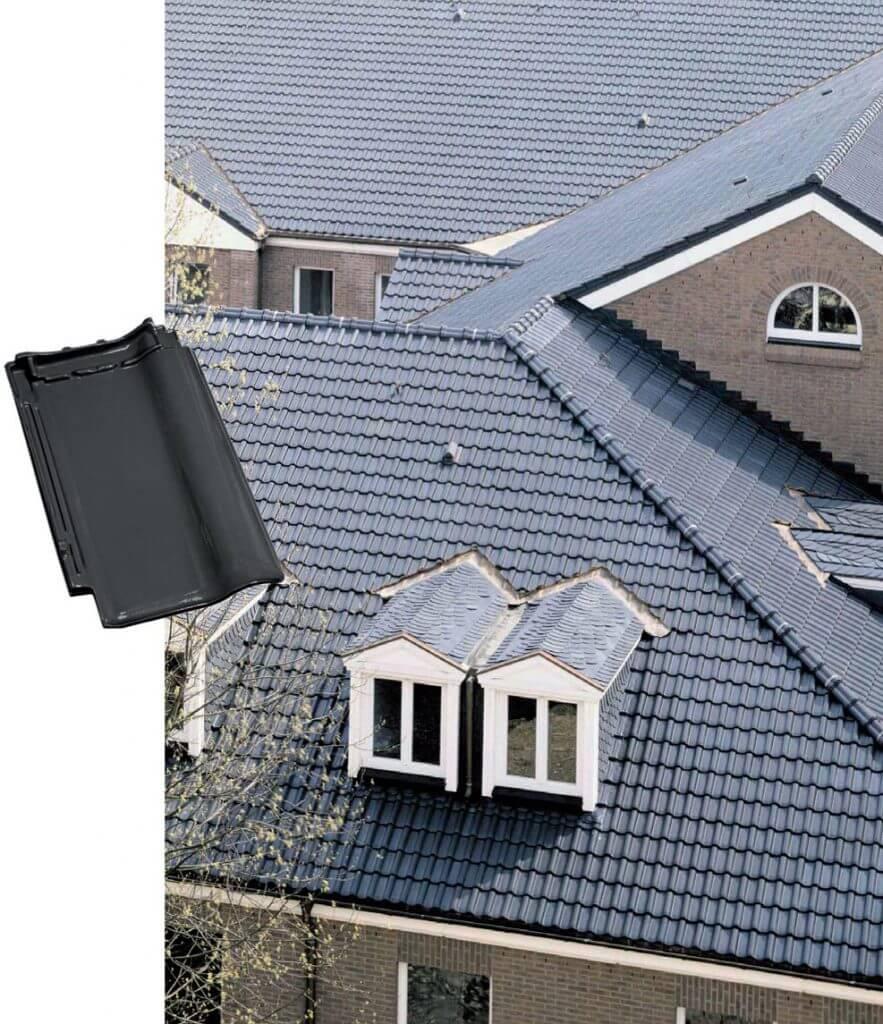 Dachówka Piemont Titan szara glazurowana.