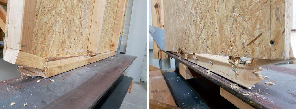 Zdj. 3. Test obrazujący mechanizm zniszczenia obracanej ściany szkieletowej.