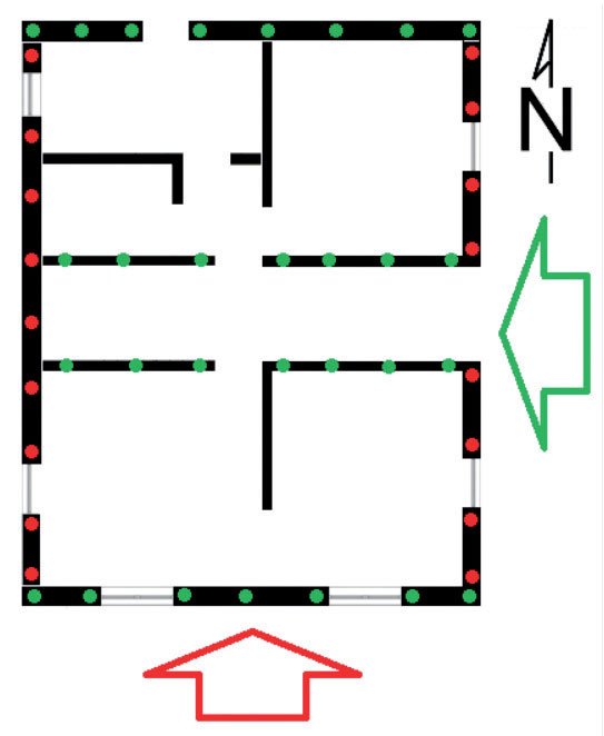 Zdj. 4. Schemat rozmieszczenia kotew zabezpieczających przesunięcie budynku.