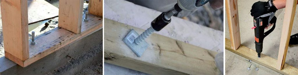 Zdj. 5. Różne sposoby kotwienia dolnej krawędzi ściany szkieletowej. Szpilki zatapiane w mieszance, kotwy mechaniczne, gwoździe wstrzeliwane w beton.
