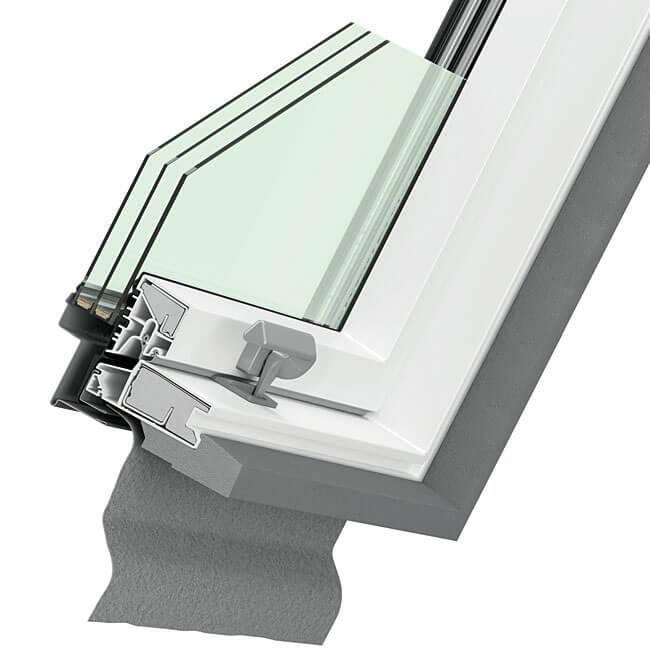 Przekrój okna Dakea Ultima Energy PVC.
