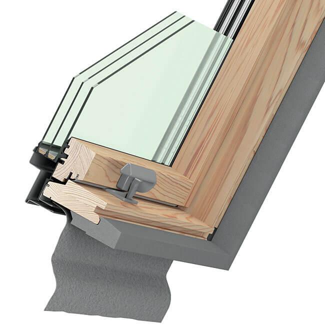Przekrój okna Dakea Ultima Energy naturalne drewno.