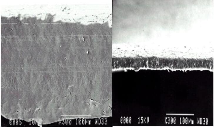 Porównanie grubości warstw funkcyjnych w powiększeniu: Tyvek® Solid 220μm i film mikroporowaty 40μm – grubsze, mocniejsze struktury posiadają większą trwałość