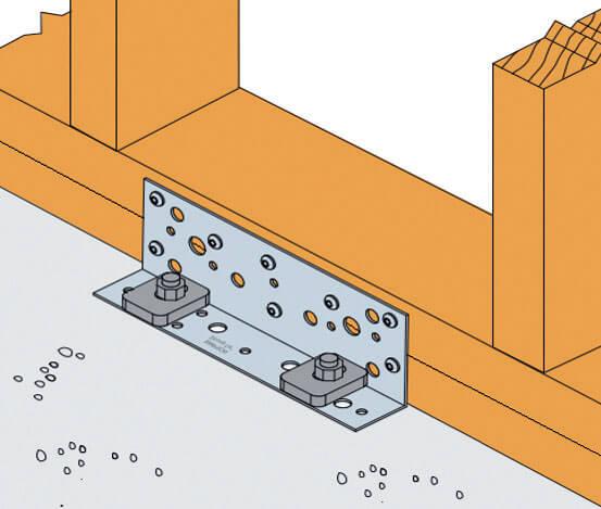Zdj. 3. Złącze BNV33 zastosowane przeciw przesuwowi ściany szkieletowej.