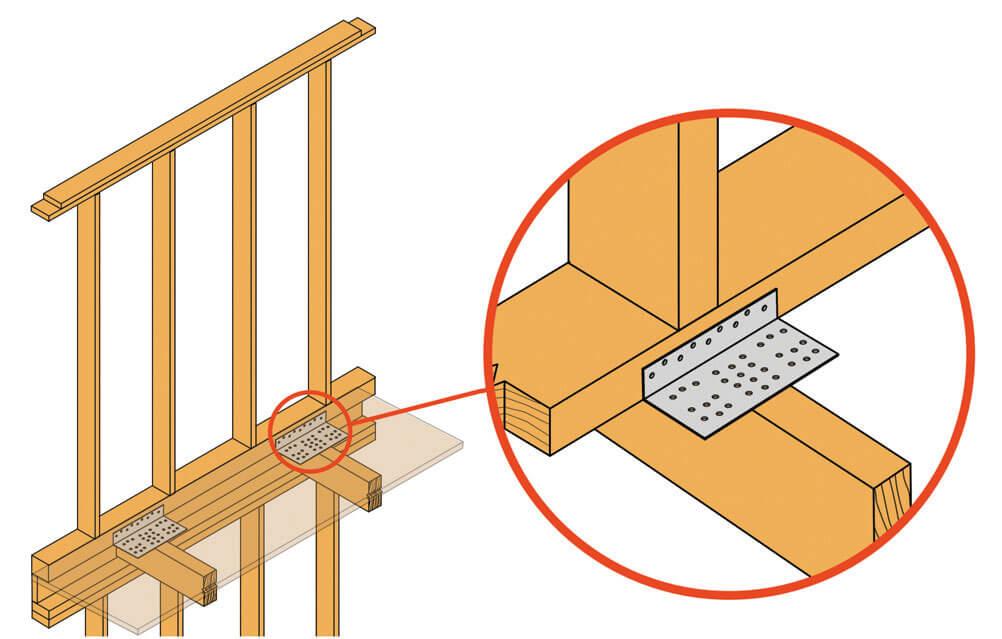 Zdj. 6. Zastosowanie kątowników AB36125 przeciw przesuwowi ścian piętra.