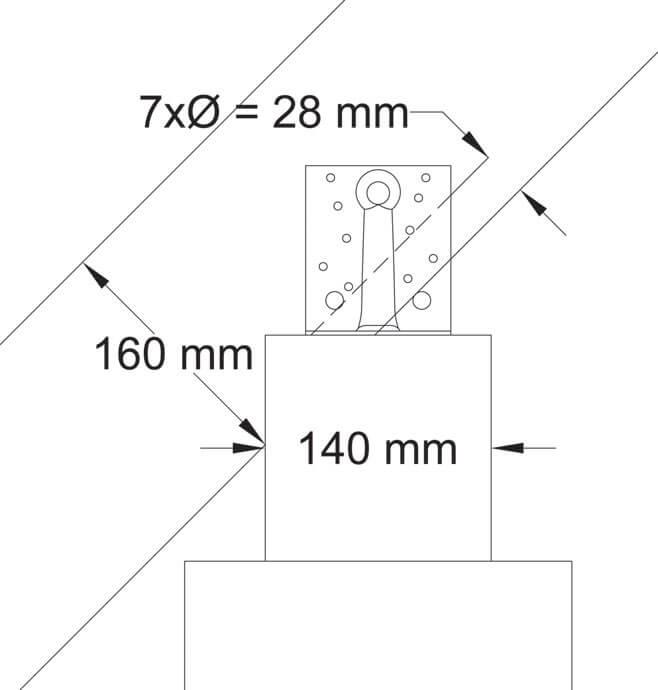 Zdj. 6. Geometria połączenia krokiew-murłata i minimalna odległość gwoździa od krawędzi.