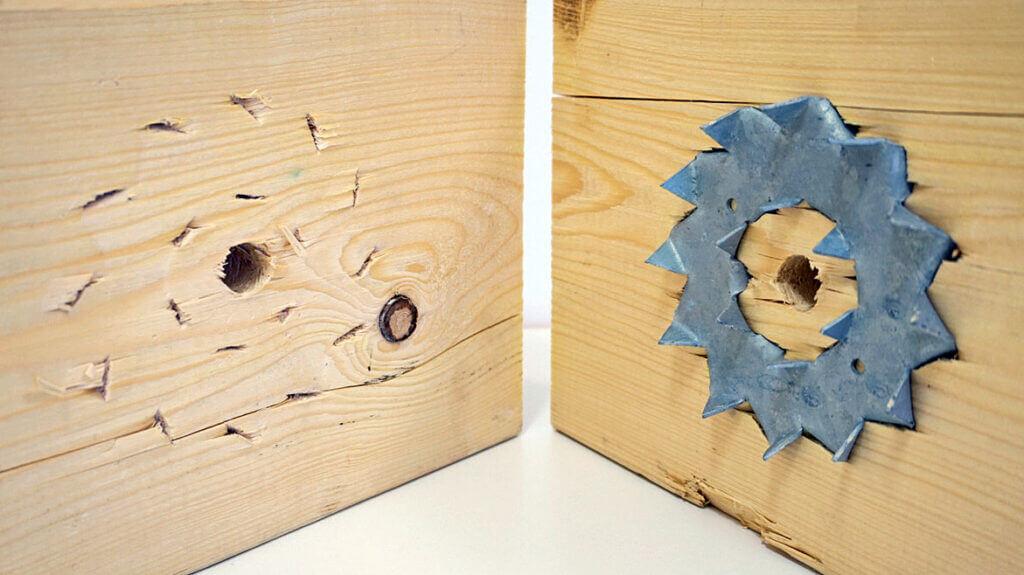 Zdj. 7. Pierścień zębaty Bulldog w połączeniu dwóch elementów drewnianych.
